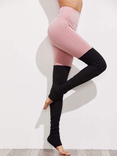 Leggins de yoga de fruncido en color block
