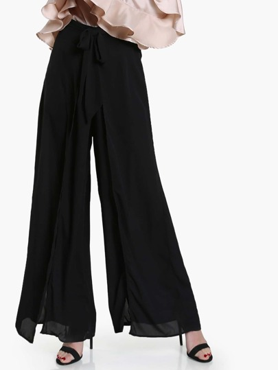 Split Front High Waist Pants BLACK
