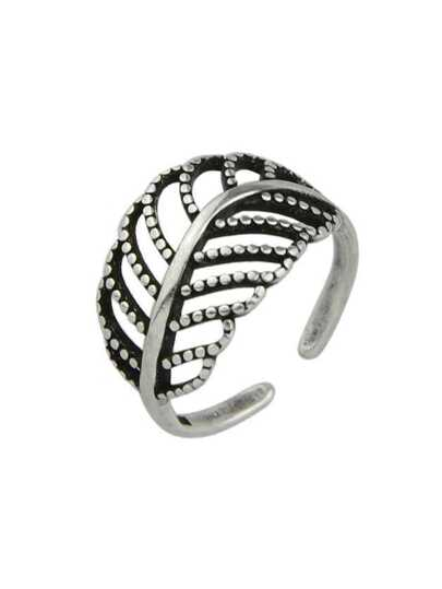 Punk Design Metal Leaf Shape Cuff Band Rings