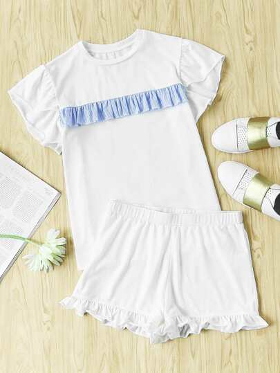 Striped Ruffle Trim Tee And Short Pajama Set
