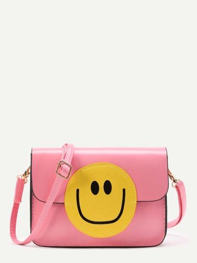Emoji Design Flap Crossbody Bag