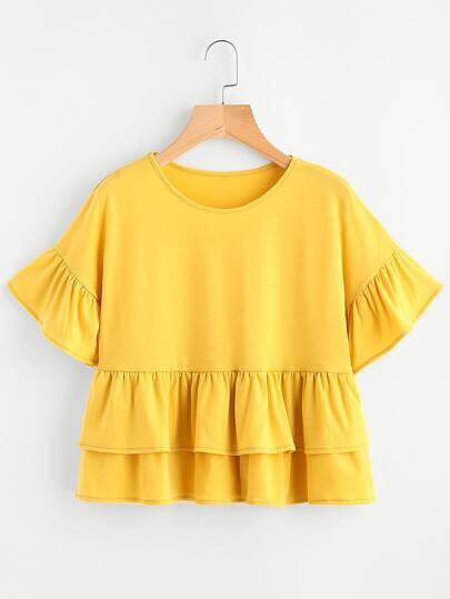 T-Shirt mit geschichtetn Saum