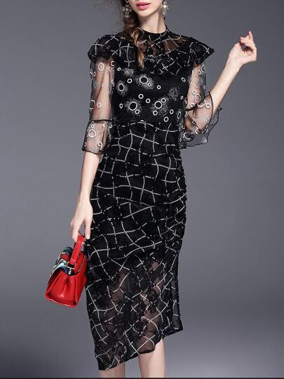 Polka Dot Flounce Sheer Bell Sleeve Dress
