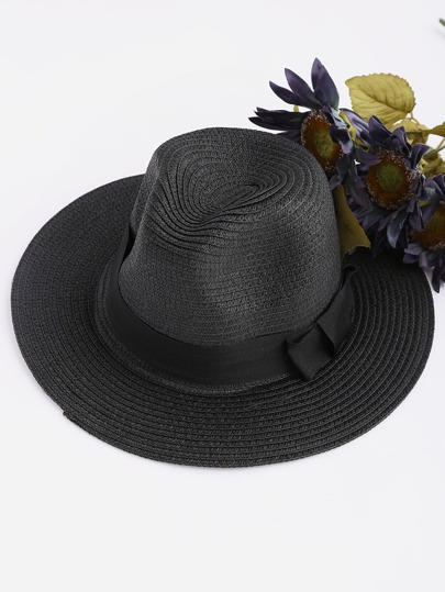 Bow Tie Straw Fedora Hat