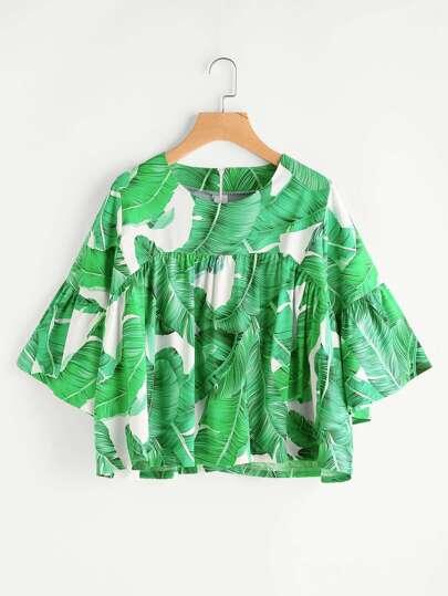 Blusa con estampado de hoja de palma