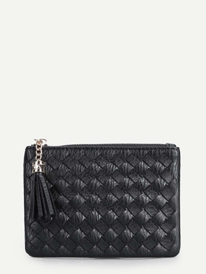 Quilted Tassel Detail PU Purse With Ring