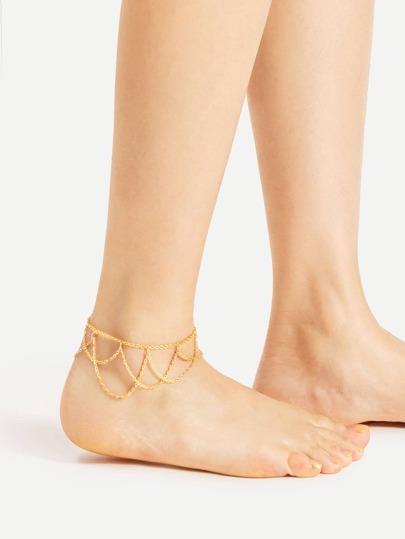 Fußkettchen Armband mit Kreuzgurte und Quaste
