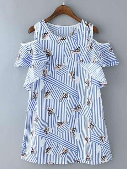 Open Shoulder Ruffle Trim Striped Dress