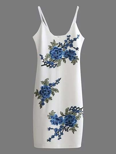 Vestito camisole con ricamo di fiore