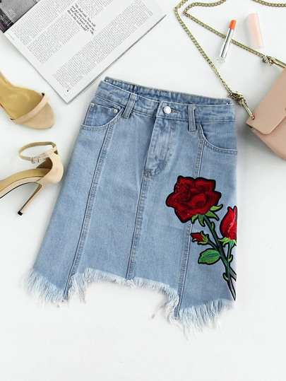 Rose Applique Raw Hem Denim Skirt