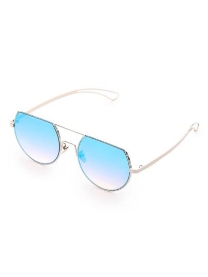 Flat Top Double Bridge Round Sunglasses