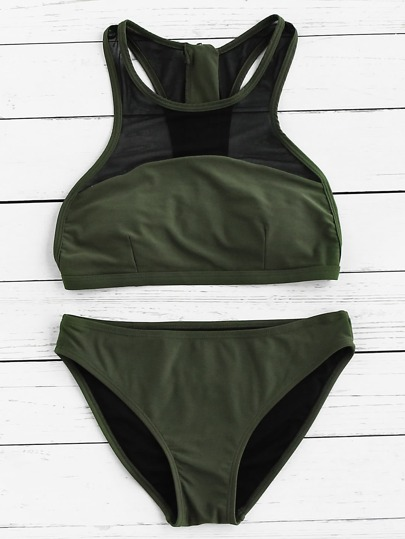 Mesh Detail Racer Back Bikini Set