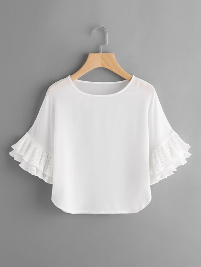 Layered Pleated Frill Sleeve Top