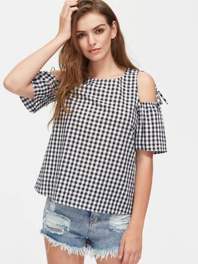 Open Shoulder Self Tie Detail Gingham Top