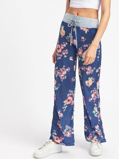Contrast Waist Florals Pants