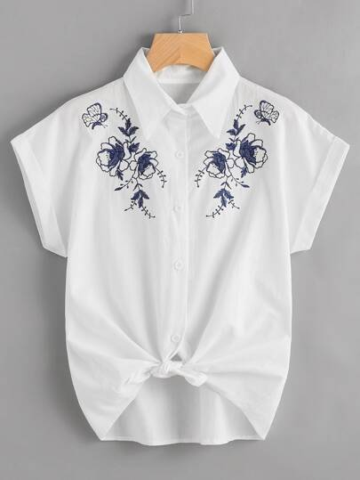 Embroidered Knot Front Cuffed Shirt