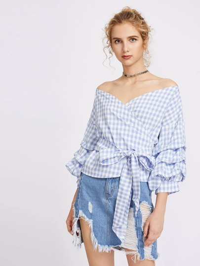 V Cut Off Shoulder Gingham Ruched Cuff Tie Front Top
