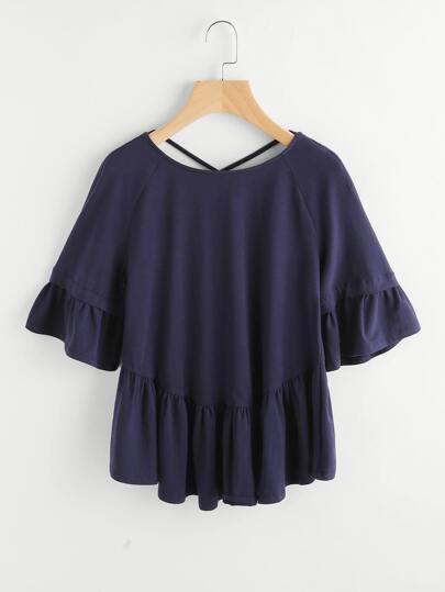 Crisscross Back Raglan Sleeve Frill T-shirt