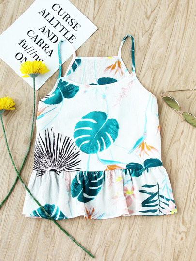 Tropical Print Frill Cami Top