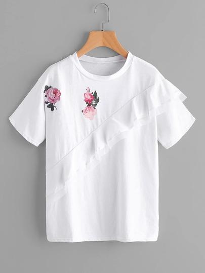 Camiseta con estampado y volantes
