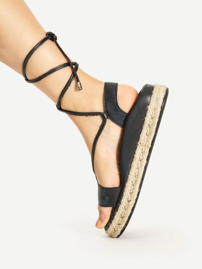 PU Criss Cross Flatform Sandals
