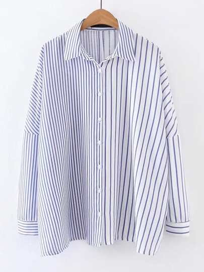 Drop Shoulder Seam Contrast Striped Blouse