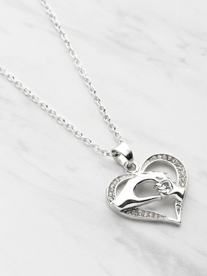 Big Hand Hold Little Hand Design Heart Pendant Necklace