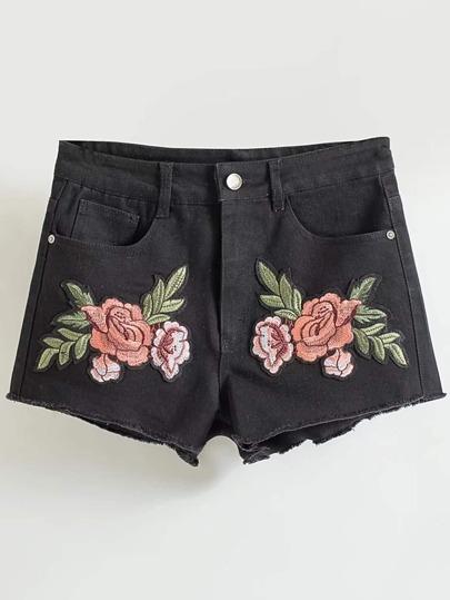 Embroidered Applique Raw Hem Denim Shorts