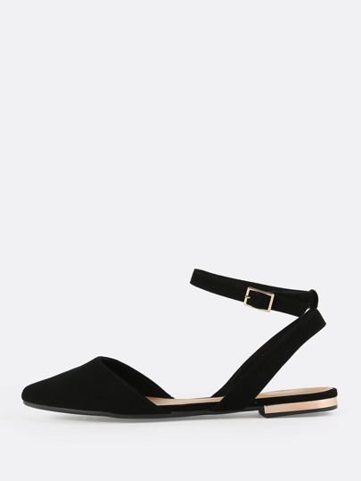 Point Toe Ankle Flats BLACK