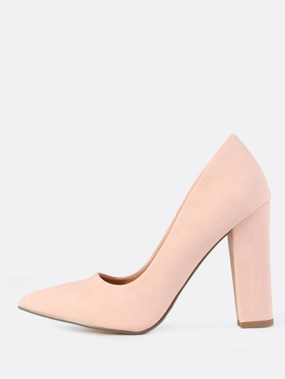 Closed Toe Chunky Heels PINK