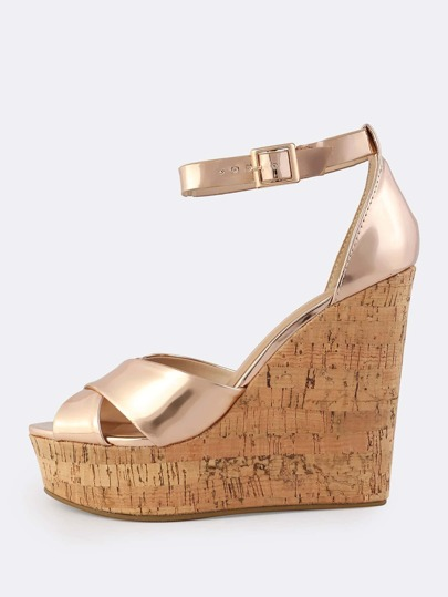 Metallic Crossband Cork Wedges ROSE GOLD