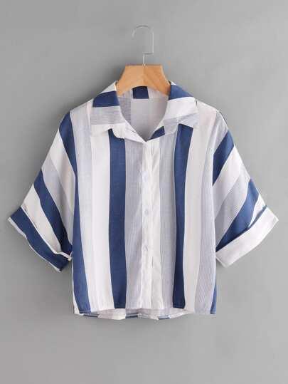 Blusa asimétrica de rayas en contraste
