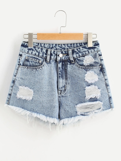 Cloud Wash Ripped Frayed Hem Denim Shorts