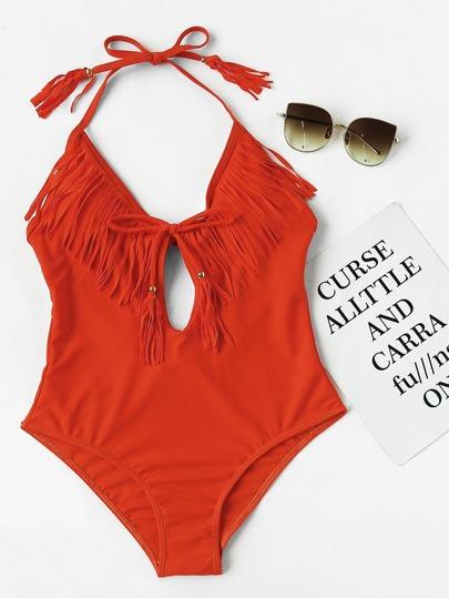 Plunging V-Neckline Fringe Trim Self Tie Swimsuit