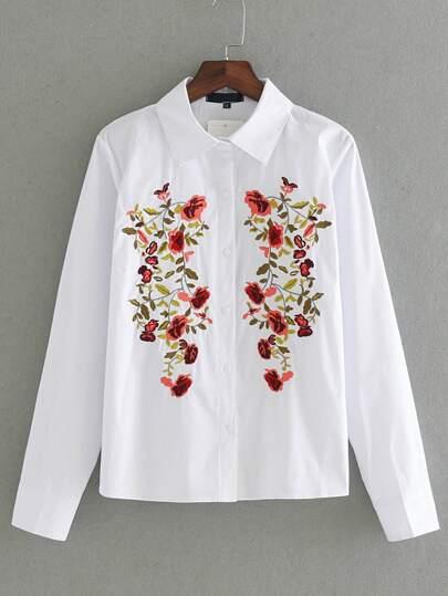 Camicetta di tunica del ricamo del fiore