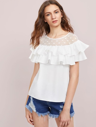 Dot Mesh Yoke Layered Flounce Top