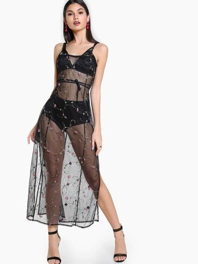 Sheer Floral Embroidered Dress BLACK