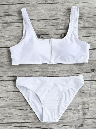 Sets de bikini de cuello redondo con cremallera