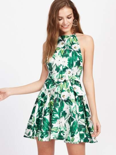 Jungle Print Open Back Swing Dress