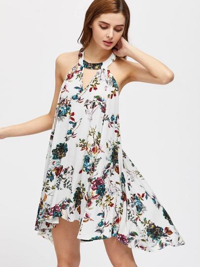Keyhole Halter Strappy Racerback Swing Botanical Dress