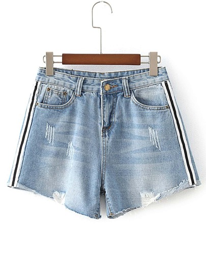 Striped Side Raw Hem Denim Shorts