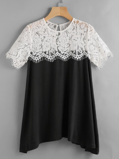Contrast Lace Button Keyhole Back Tee