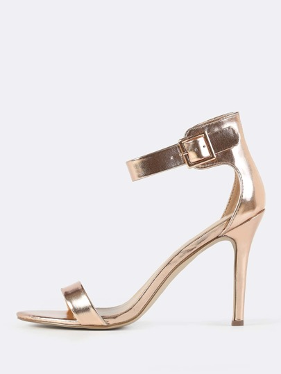 Metallic Shine Ankle Strap Heels ROSE GOLD