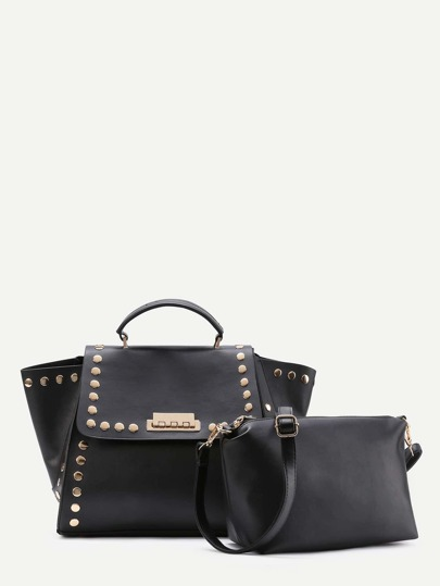 Studded Decorated PU Satchel Bag With Clutch