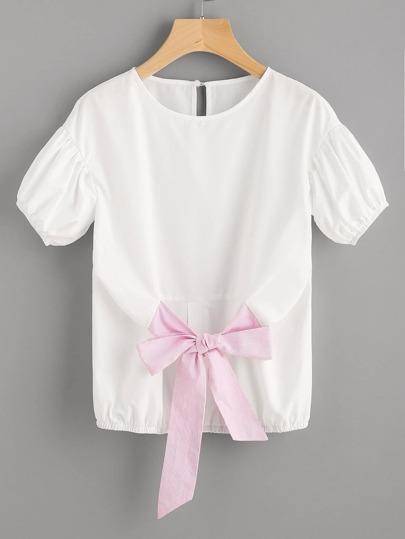 Drop Shoulder Puff Sleeve Striped Belt Front Top