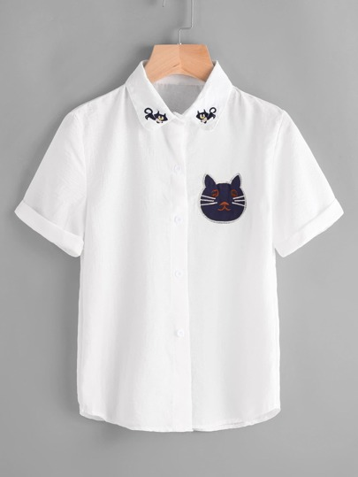 Cat Embroidery Roll Sleeve Shirt