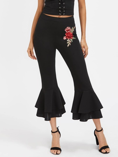 Embroidered Flower Applique Layered Flared Pants