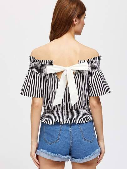V Notch Contrast Bow Back Striped Shirred Top
