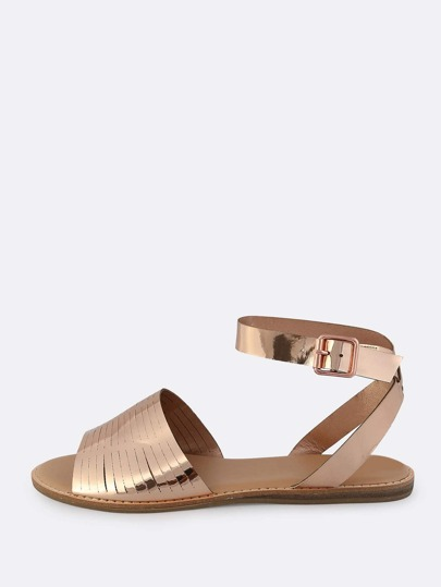 Metallic Slit Flat Sandals ROSE GOLD