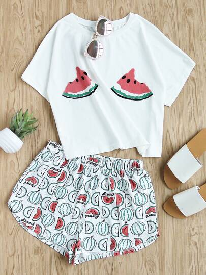 Watermelon Print Tee And Shorts Set